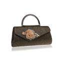 Stylish Floral Pearl Rhinestone Embellishment Top Handle Clutch Handbag 26*5.5*13 CM