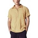 Mens Basic Simple Plain Button Lapel Collar Short Sleeve Relaxed Fit Linen Shirt