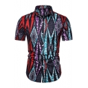 African Tribal Printed Mens Basic Short Sleeve Button Up Slim Fitted Shirt