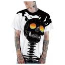 Halloween Unique Skull Pattern Round Neck Short Sleeve Sport Loose T-Shirt