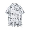 Funny Cartoon Figure Face Graffiti Short Sleeve Unisex Casual Hawaiian Beach Shirt