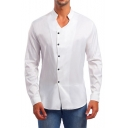 Mens Hot Popular Simple Solid Color Stand Collar Long Sleeve Button Front Slim Shirt