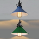 Porch Conical Shade Pendant Light with Swivel Joint 1 Light Industrial Blue/Green Hanging Light