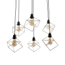 6 Lights Ring Pendant Lamp with Cube Shade Retro Loft Metal Hanging Light in Black for Restaurant