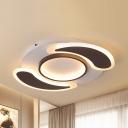 Modern Black & White Flush Ceiling Light Teardrop Aluminum LED Ceiling Lamp in Warm/White for Kindergarten