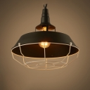 One Head Barn Pendant Light with Cage Industrial Metal Pendant Lamp in Black for Warehouse