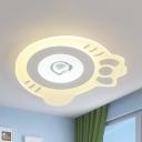 Cartoon White LED Ceiling Mount Light Kitty Acrylic Stepless Dimming/Warm/White Flush Light