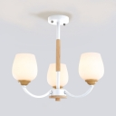 White Frosted Glass Shade Chandelier for Bedroom Nature Wood 3/5 Light Uplighting Chandelier