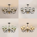 Contemporary Oval Suspension Light 10/12 Lights Hammer Glass Chandelier in Black for Dining Room