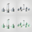 3/6 Lights Cup Shape Chandelier Nordic Style Iron Hanging Lamp in Gray/Green for Study Room