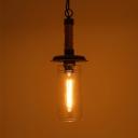 Clear Glass Tube Pendant Light 1 Light Retro Style Hanging Light in Beige for Shop Restaurant