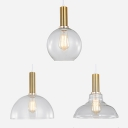 Brass Barn/Dome/Globe Pendant Light 1 Head Simple Style Clear Glass Pendant Lamp for Kitchen