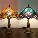Vintage Tiffany Leaf Desk Light Stained Glass 1 Light Blue/Orange Table Light for Hotel