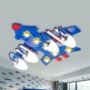 Cartoon Plane LED Ceiling Mount Light Wood Blue Flush Light with Star for Nursing Room