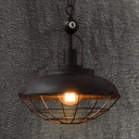 Industrial Barn Pendant Light with Iron Wire Single Light Black Hanging Light with Billiard for Bar