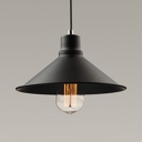 Metal Conical Shade Suspension Light with Adjustable Cord Hallway 1 Head Antique Pendant Light in Black