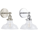 Clear Barn Shade Wall Light 1 Light Simple Style Glass Wall Lamp in Chrome/Nickle for Kitchen