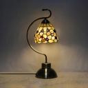 1 Light Desert Rose Table Light Tiffany Style Stained Glass Desk Light in Beige for Bedroom