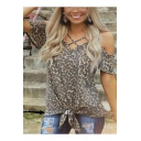Trendy Leopard Printed Crisscross V-Neck Cold Shoulder Short Sleeve Tied Hem Loose T-Shirt