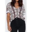 Womens Fashion Snakeskin Printed V-Neck Short Sleeve Loose Casual T-Shirt