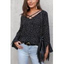 Classic Polka Dot Printed Crisscross V-Neck Flared Long Sleeve Chiffon Blouse