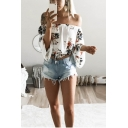 Summer Hot Popular Fashion Floral Printed Sexy Off the Shoulder Blouse Top
