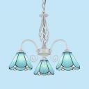 Mediterranean Style Cone Chandelier Glass 3 Lights Blue Pendant Lighting for Bedroom Study Room