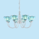 Blue Cone Shade Chandelier 8 Lights Mediterranean Style Glass Hanging Light for Living Room