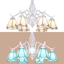 Glass Cone Shade Chandelier Living Room Hotel 6 Lights Tiffany Style Hanging Light in Blue/White