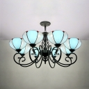 Glass Dome Shade Chandelier Dining Room Hotel 8 Lights Tiffany Style Hanging Light
