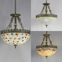 Dome Bedroom Hallway Pendant Lamp Glass Shell Tiffany Style Antique Chandelier in Aged Brass