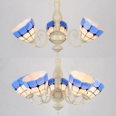 Mediterranean Style Dome Chandelier Stained Glass 3/5 Lights Blue Hanging Light for Study Room