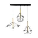 Vintage Wire Frame Ceiling Lamp Metal 3 Lights Black Hanging Light for Living Room Foyer