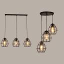 Study Room Wire Frame Island Light Metal 3 Lights Antique Black Ceiling Lamp