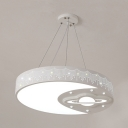 Acrylic Moon Planet Pendant Light Creative White Hanging Light in Warm/White for Child Bedroom