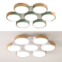 Nordic Style Green/White Ceiling Mount Light Round 7 Heads Acrylic LED Ceiling Lamp for Bedroom