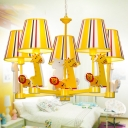 Lovely Animal Hanging Light with Tapered Shade Metal Yellow LED Chandelier for Amusement Park