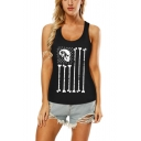 Summer Cool Skull Printed Scoop Neck Sleeveless Cutout Back Black Tank For Women