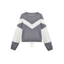 New Stylish Colorblock Round Neck Long Lantern Sleeve Drawstring Hem Grey Pullover Sweatshirt