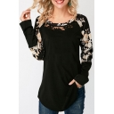 Women's Floral Print Round Neck Long Sleeve Hollow Lace Patch Asymmetric Hem Tee