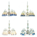 Glass Cone/Dome Suspension Light 5 Lights Mediterranean Style Chandelier in Blue/White for Dining Room