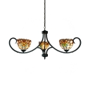 Tiffany Style Victorian Dome Chandelier Stained Glass 3 Lights Ceiling Lamp for Bedroom