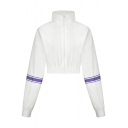 White Color Block Stripe Long Sleeve Stand Collar Velvet Cropped Zip Up Sweatshirt
