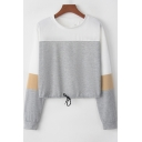 New Color Block Round Neck Long Sleeve Drawstring Sweatshirt