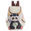 Cute Cartoon Panda Printed Beige Drawstring Travel Bag School Backpack with Side Pockets 28*11*39 CM