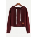 Women's New Leather Label Drawstring Hood Long Sleeve Solid Color Hoodie