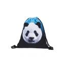 Fashion Creative 3D Panda Printed Blue and Black Drawstring Backpack 30*39 CM
