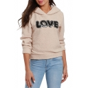 Hot Stylish Women's LOVE Letter Print Long Sleeve Apricot Fleece Hoodie