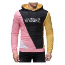 UNIQUE Letter Colorblock Long Sleeve Slim Fitted Drawstring Hoodie for Men