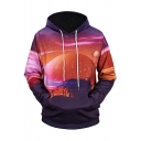 3D Galaxy Sunset Landscape Colorblock Printed Long Sleeve Casual Hoodie with Pocket